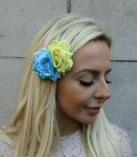 Double Turquoise Blue Lemon Yellow Rose Flower Hair Clip Floral Fascinator 7850