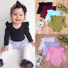 Newborn Infant Baby Boy Girl Solid Ruffle Long Sleeve Romper Bodyuit Clothes AU