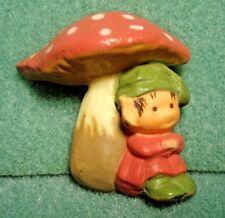 Vintage Plastic Mushroom Pixie Elf Fairy Pin Brooch
