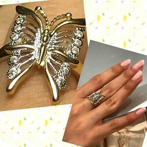 GoLD BuTtErFlY Ring 14k yellow White Simulated Diamond solid size 7 5 6 8 9