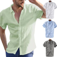 Men's Short Sleeve Dress Shirt Summer Cool Loose Casual V-Neck Shirts Tops M-3XL