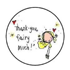 "48 Thank You Fairy Much!!!  ENVELOPE SEALS LABELS STICKERS 1.2"" ROUND"