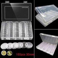 100Pcs 30mm Clear Plastic Round Coin Cases Capsules Container Holder Storage Box