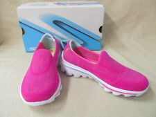 Youth Girls Skechers Sz 1.5 Neon Pink Go Walk 2 Super Sock Shoes 81052L/NPNK