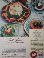 1946 A&P Fall Feast Cauliflower With Cheese Sauce Recipe Original Color Ad