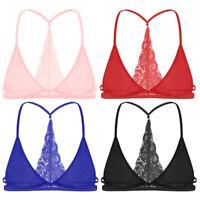 Sexy Men Sissy Mesh Bralette Underwear Lace Wire-free Bra Crop Tank Top Lingerie