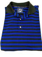 Footjoy FJ Prodry Men Striped Polo Golf Shirt Polyester Size Large Blue Black