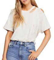 Free People Womens T-Shirt White Medium M Distressed Lucky Crewneck Tee $58 220