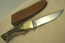 1980s~UNCLE HENRY~U.S.A.~144~SHRADE HUNTING KNIFE SERIAL #15984 w/LEATHER SHEATH