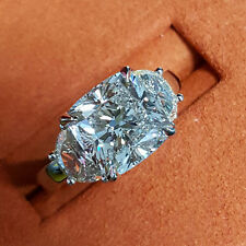 3.14 Ct Cushion Cut Half Moon 3Stone Diamond Engagement Ring F,VVS2 EGL Platinum