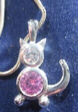 Sterling Silver White And Pink Glass Cat Pendant And An 18 Inch Chain