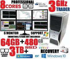8-CORES DUAL XEON 6-MONITOR DELL TRADING COMPUTER 🔥64GB🔥480GB SSD+3TB🔥DESKTOP