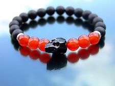 Men Onyx Matt/Carnelian Skull Bracelet with Swarovski Crystal 7'' Elasticated