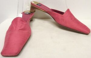 "ANNE KLEIN PINK RAW SILK W GOLD LEATHER TRIM 1.5"" KITTEN HEEL MULES DISPLAY 7M"