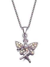 CRYSTAL FAIRY ANGEL PENDANT CHARM NECKLACE SILVER TONE CLEAR PINK BLUE AQUA MUTI