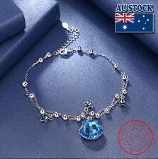 LEKANI Sterling Silver Blue Shell Crystal From Swarovski Chain Wedding Bracelets
