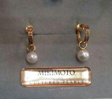 MIKIMOTO 18K Yellow Gold Screw Backs Akoya 7 mm Pearl Drop Earrings Detachable