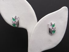 14k White Gold .48ct Marquise Emerald Round Diamond Cluster Leaf Shell Earrings