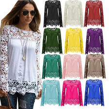 Womens Lace Crochet Chiffon Long Sleeve Top Shirt Blouse T shirt Plus Size 8-28