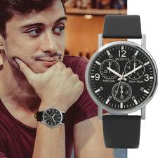 Three Eye Fashion Leather Watches Quartz Men's Watch Blue Glass Belt Watch Men