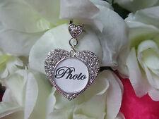 Bride Wedding Bouquet Crystal Memory Frame Charm, Photo in Heart Bride Keepsake