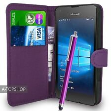 Purple Wallet Case PU Leather Book Cover For Micosoft / Nokia Lumia 550 Mobile