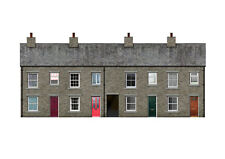4 X Sheets Grey Stone Terraced Houses Backscene OO Gauge Model Railway Bx003b