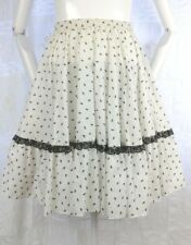 VTG Square Up 70s Dance Skirt Floral Rockabilly VLV Kawaii Lolita Lace Ruffles M