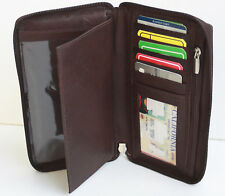 Brown 100% Leather Men Lady Holder Id Card Checkbook Cover Wallet Zip Around