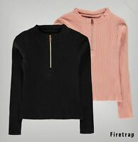 Girls Firetrap High Neck Comfortable Long Sleeve Ribbed Top Sizes from 5 to 13