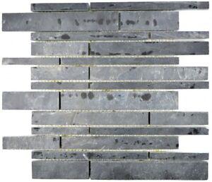 Mosaik Matte Schiefer Anthrazit 30x30 cm matt Naturstein Fliesen Schwarz M017