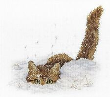 Counted Cross Stitch Kit MP STUDIO - Cat in the snow
