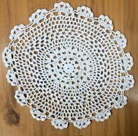 "Hand Crocheted Doily White 10"" Doilies Centerpiece 100% Cotton"