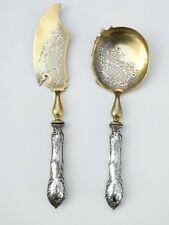 New listing Vintage 2 Piece Sterling Silver Fish Serving Ornate Set W/ Gold Wash Nice!