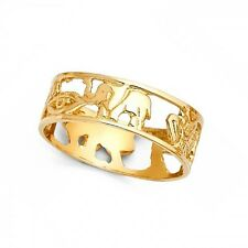 Good Luck Symbols Ring Solid 14k Yellow Gold Lucky Charm Band Open Design