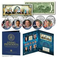 LIVING PRESIDENTS U.S $2 Bill w/ 5-Coin Statehood Quarter Set LARGE 8x10 DISPLAY