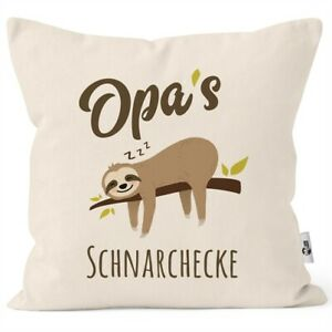 Kissen-Bezug Spruch Opa's Oma's Mama's Papa's Schnarchecke Faultier Print