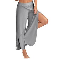 Summer Women Flowy Layered Palazzo BOHO Wide Leg Pants Yoga Trousers Split Pants