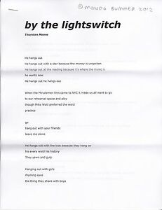 """THURSTON MOORE """"BY THE LIGHTSWITCH"""" MONDO BUMMER 2012 POEM SONIC YOUTH"""