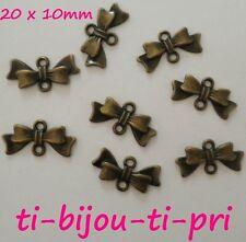 LOT de 12 PERLES CONNECTEURS NOEUD 20x10mm BRONZE bowknot sautoirs bijoux