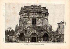 Stampa antica RAVENNA veduta del Mausoleo di Teodorico 1891 Old print