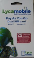 Lycamobile Micro Sim Card for iPhone 4/4S, Galaxy S3 - PAYG with £2 Free Credit*
