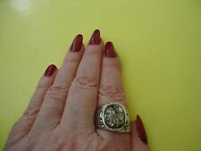 Men's Ladies Ring With Oval  Shell Faux Pearl Gemstone Silver Plate Sz.11.0 #R13