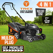 "NEW TREX Lawn Mower Self Propelled 169cc 17"" Lawnmower 4 Stroke 2 in 1 Freight"