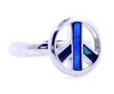 Ajustable Plata Y Azul signo de la paz Anillo