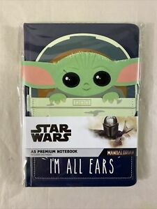"Star Wars Mandalorian Baby Yoda A5 Premium Notebook ""Im All Ears"" Brand New"