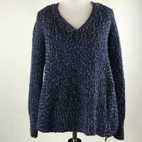 Moth Anthropologie Women Blue Chunky Knit Side Zip V Neck Sweater sz M