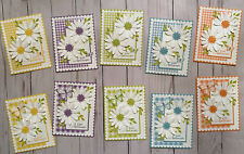 """10 Handmade Gingham Daisy Butterfly """"Just Because"""" greeting cards envelopes"""