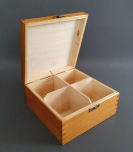 Pine Wood GOLD Handmade Tea Bags 4 Compartments Storage Box