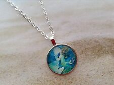 NAUTICAL MERMAID DESIGN GLASS DOME CABOCHON SILVER PLATED SETTING CHAIN PENDANT